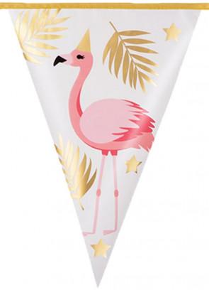 Pink Flamingo Gold Leaf Bunting 4m – Single sided