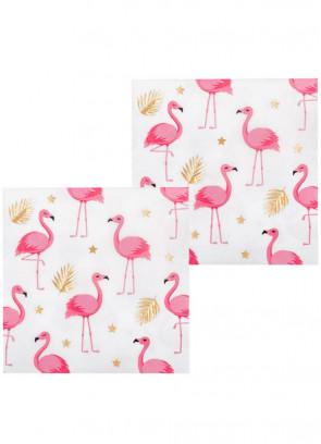 Pink Flamingo Gold Leaf Napkins 16.5cm – 12pk