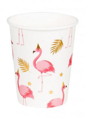 Pink Flamingo Gold Leaf Paper Cups 25cl – 6pk