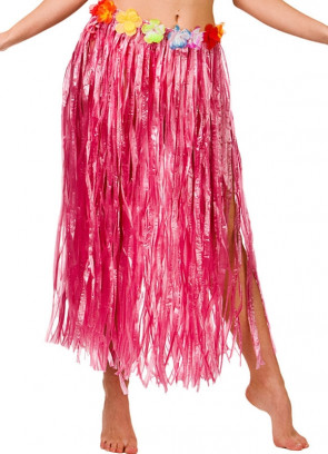 Hawaiian Long Pink Grass Skirt with Flowers