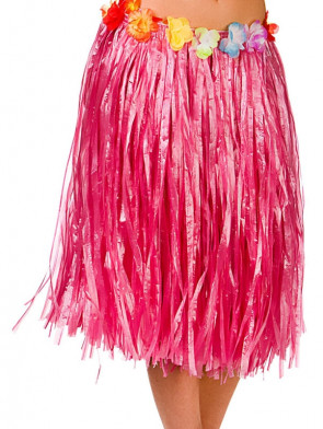 """Hawaiian Short Pink Grass Skirt with Flowers - will fit up to waist size 40"""" or 102cm"""