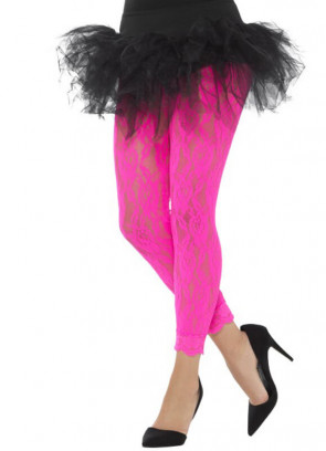 80's Lace Footless Tights, Neon Pink - Dress Size 6-18