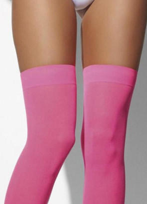 Pink Neon Stockings Hold-Ups - Dress Size 6-14