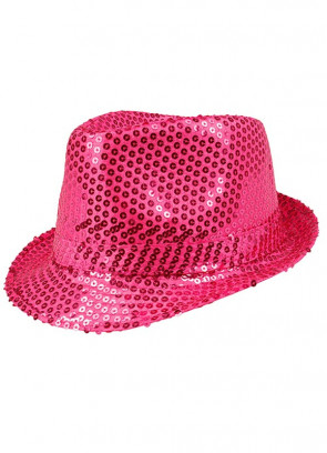 Pink Sequin Fedora / Trilby Hat