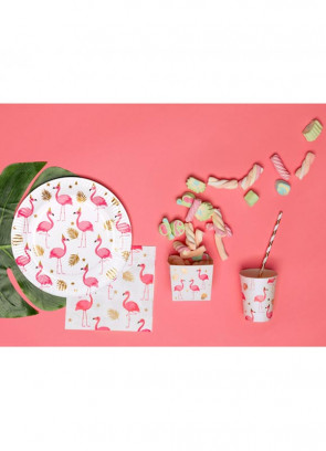 Pink Flamingo Gold Leaf Paper Plates 23.5cm – 6pk