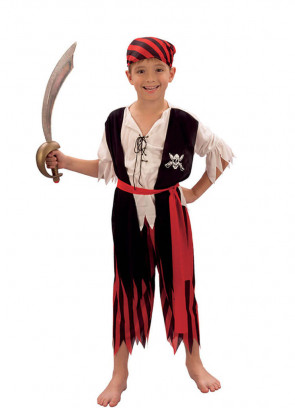Pirate Boy (Red & Black Striped Trousers) (Boys) Costume