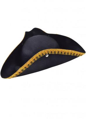 Pirate Tricorn Hat Gold Braided