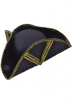 Pirate Tricorn (gold trim) Hat