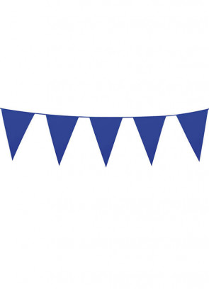 Large Blue Triangular Plastic Bunting 10m