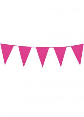 Large Dark Pink Triangular Plastic Bunting 10m