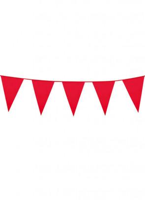 Large Red Triangular Plastic Bunting 10m