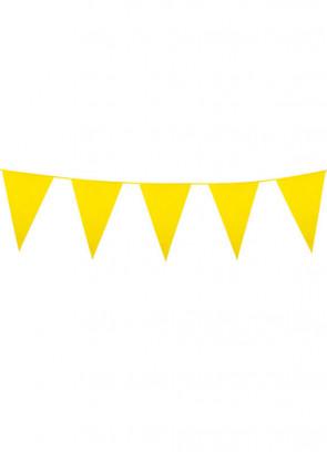 Large Yellow Triangular Plastic Bunting 10m