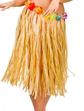 Hawaiian Short Plain Grass Skirt with Flowers