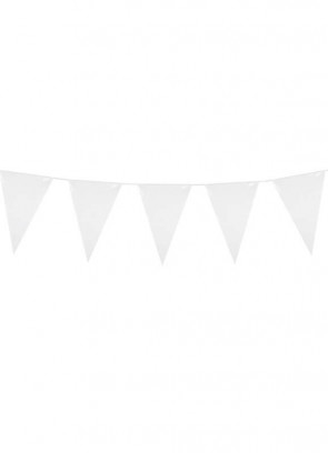 Large White Triangular Plastic Bunting 10m
