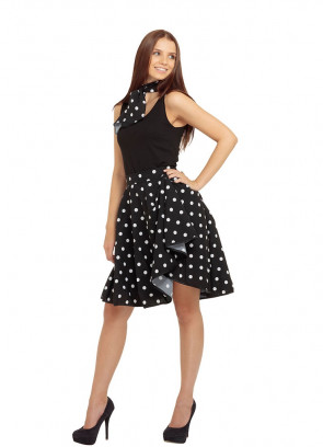 1950s Rock and Roll Polkadot Skirt (Black)