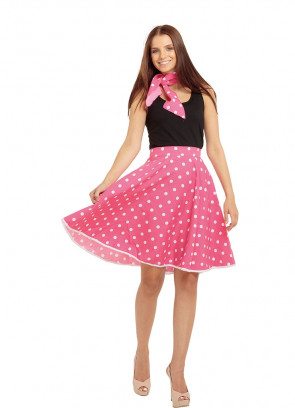 1950s Rock and Roll Polkadot Skirt (Pink)
