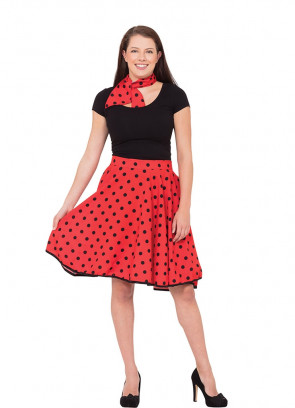 1950s Rock and Roll Polkadot Skirt (Red)