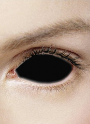 Possessed Black Full Eye Sclera Contact Lenses (22mm) One Year Wear