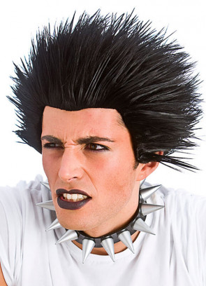 Black Spiked Punk Rocker Wig