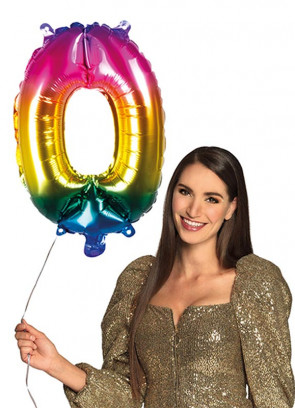 Rainbow Foil Balloon Number 0 – Helium or Air-fill – 66cm