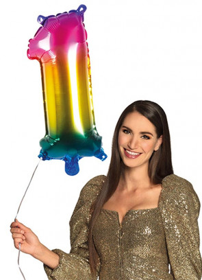 Rainbow Foil Balloon Number 1 – Helium or Air-fill – 66cm
