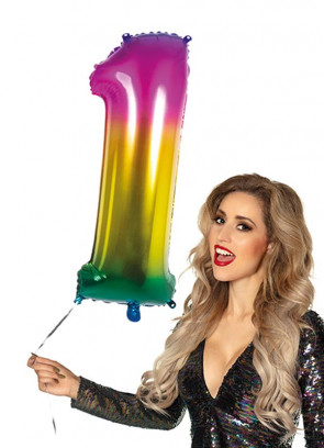 Rainbow Foil Balloon Number 1 – Helium or Air-fill – 86cm