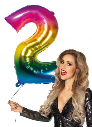 Rainbow Foil Balloon Number 2 – Helium or Air-fill – 86cm