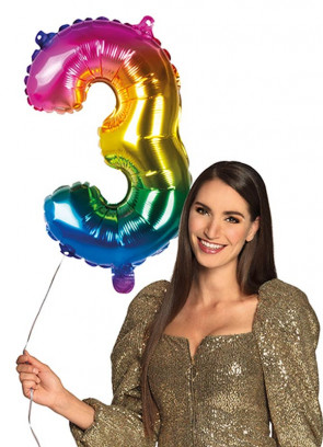 Rainbow Foil Balloon Number 3 – Helium or Air-fill – 66cm