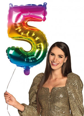 Rainbow Foil Balloon Number 5 – Helium or Air-fill – 66cm