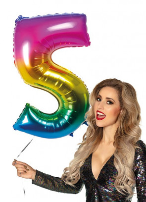 Rainbow Foil Balloon Number 5 – Helium or Air-fill – 86cm