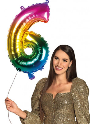 Rainbow Foil Balloon Number 6 – Helium or Air-fill – 66cm
