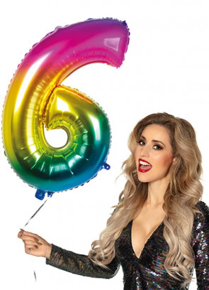 Rainbow Foil Balloon Number 6 – Helium or Air-fill – 86cm