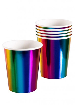 Rainbow Metallic Paper Cups 25cl – 6pk