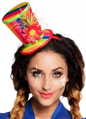 Rainbow Mini Clown Top Hat on Headband
