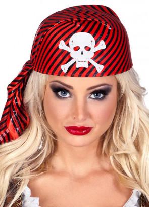 Red & Black Striped Pirate Skull Cap