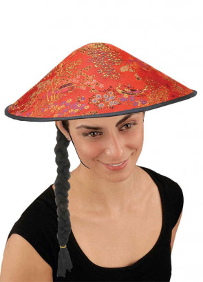 Coolie Hat (Red with Plait)