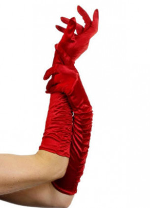 Ruched Red Satin Gloves
