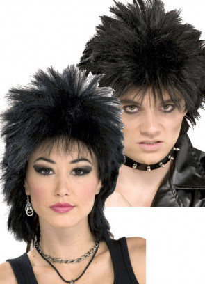 80's Rock Idol Black Wig