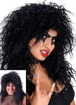 80s Rock Star - Black Wavy Unisex wig - Slash - Kiss