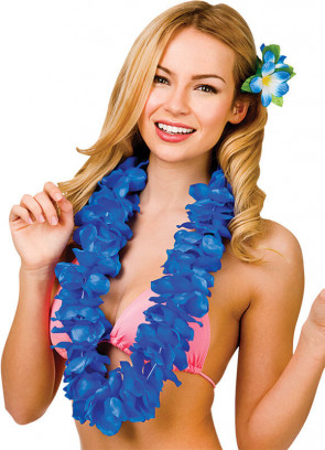 Full Hawaiian Petal Lei Royal Blue