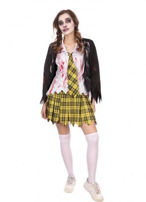 Ladies Yellow Tartan School Girl Zombie