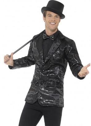 Sequin Jacket - Black - Male