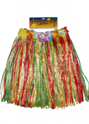 "Hawaiian Kids Grass Skirt With Flowers - will fit up to waist size 28"" or 71cm"