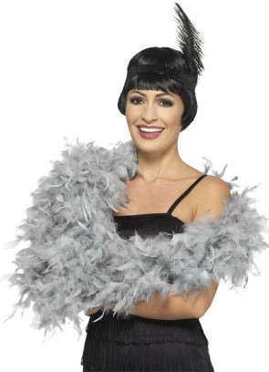 Silver / Grey Feather Boa 80g