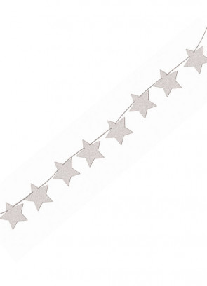 Silver Glitter Star Banner Bunting 8ft Long