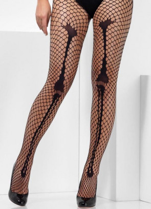 Skeleton Bone Net Tights - Dress Size 6-18