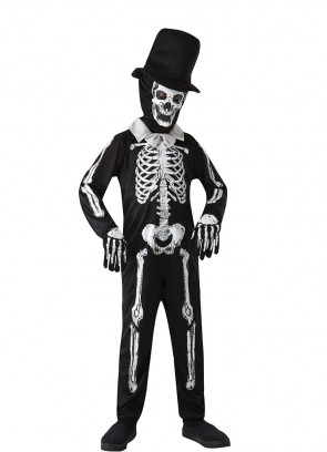 Skeleton Zombie Costume - Black Hat