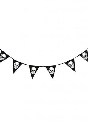 Halloween Skull Black Bunting 360cm – Single-Sided