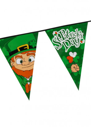 Large St. Patrick's Day Triangular Plastic Bunting 8m