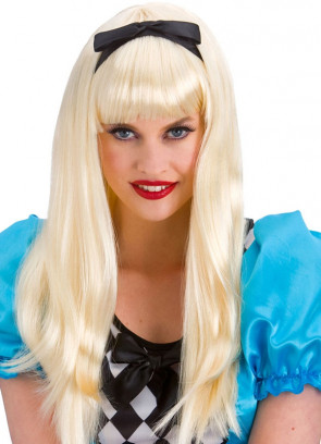 Storybook Alice - Long Blonde Wig with Black Bow